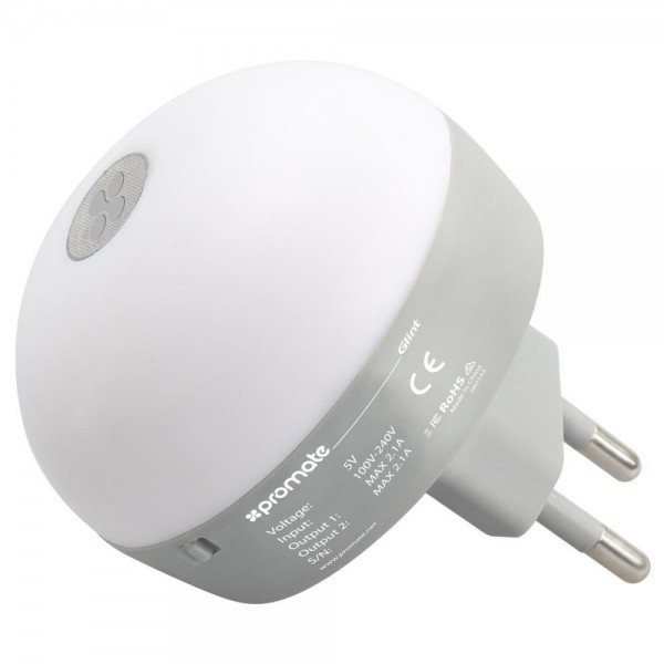 Promate Dual Port USB wall Charger with Night Light