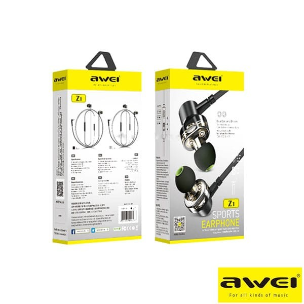 Awei Z1 Sports Earphone With Dual Dynamic Drives